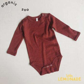 【organic zoo】 バーガンディ ロンパース ボディースーツ メリノウール100% 長袖 3か月/6か月/12か月 Merino Wool Bodysuit オーガニックズー BMBOZ