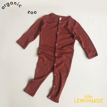 【organic zoo】 バーガンディ カバーオール ボディースーツ 長袖 3か月/6か月/12か月 メリノウール100% Bodysuit Burgundy オーガニックズー BMPLOZ