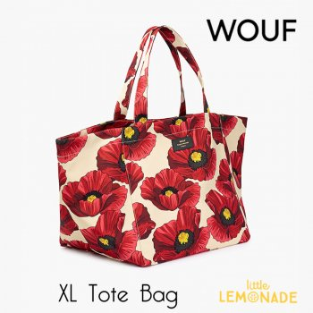 【WOUF】 トートバッグ 【Red Poppy Tote Bag】 ポピー 赤い花 プールバッグ サマーバッグ レジャーバッグ 女性向けバッグ  (HXL190005)