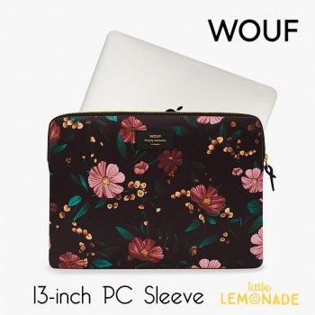 【WOUF】  13インチ PCケース 【Black Flowers】  花柄 パソコン用スリーブ Macbook Pro 13inch パソコン用スリーブ  (S190007)