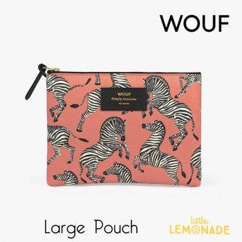 【WOUF】 ラージポーチ 【Zebra】シマウマ ピンク おしゃれ  クラッチバッグバッグ 小物入れ  (ML200002)