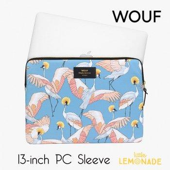 【WOUF】 13インチ PCケース【Imperial Heron】  パソコン用スリーブ パソコンケース 鳥 青  (S200005)