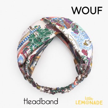 【WOUF】 ヘアバンド 【Market】  HeadBand マーケット 街並み 花 フラワー ヘアバンド ヘアアクセサリー (HBA200004)