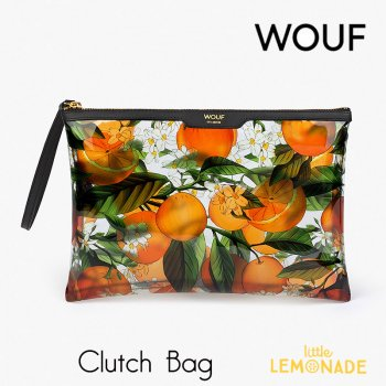 【WOUF】 クラッチバッグ Orange Blossom  クリア ビニール生地 透明 オレンジ ボタニカル 小物入れ セカンドバッグ Clutch Bag バッグ  (CNA200007)