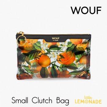 【WOUF】 スモール クラッチバッグ Orange Blossom  クリア ビニール生地 透明 オレンジ ボタニカル セカンドバッグ Clutch Bag バッグ  (MSA200007)