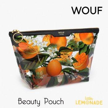 【WOUF】 化粧ポーチ Orange Blossom Big Beauty クリア ビニール生地 オレンジ ボタニカル おしゃれ pouch マチ付きポーチ  (MBV200007)