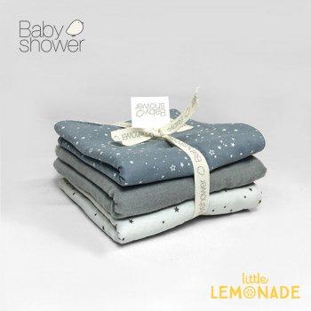【BABYSHOWER】 タオル 3枚セット ブルー 28x28cm ベビータオル よだれ拭き ハンドタオル スペイン製