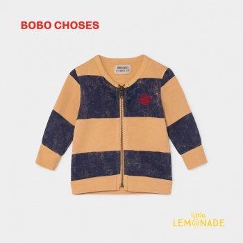 【BOBO CHOSES】 STRIPED SATURN ZIPPED SWEATSHIRT ストライプ サターン ジップスウェット 12M/24M/36M ベビー服 ボボショーズ AW