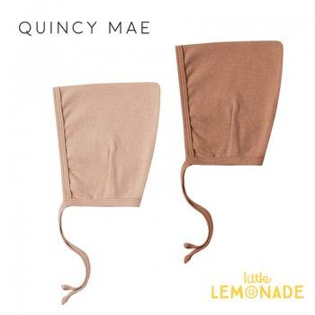 【Quincy Mae】 ボンネット Rust/Petal 【6-12カ月】 ベビー帽子 ピクシーハット