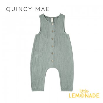 【Quincy Mae】 ジャンプスーツ Ocean【6-12カ月/12-18カ月/18-24カ月/2-3歳】Woven Snap Jumpsuit ノースリーブ ロンパース