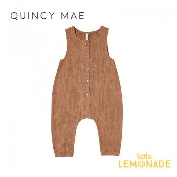 【Quincy Mae】 ジャンプスーツ Rust【6-12カ月/12-18カ月/18-24カ月/2-3歳】Woven Snap Jumpsuit ノースリーブ ロンパース