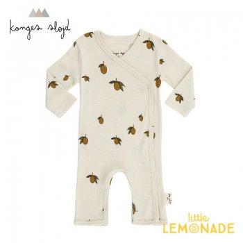 【Konges Sloejd】 レモン柄 カバーオール 62cm 【1-3か月】 NEW BORN ONESIE LEMON コンゲススロイド 新生児 16576