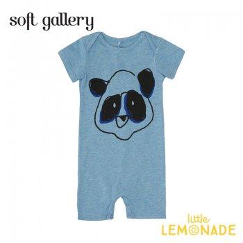 【Soft gallery】パンダのロンパース 6か月/9か月 BABYBLUE MELANGE PANDA 夏服 子ども服 ロンパース 個性的 オシャレ ukati (332610201) SALE