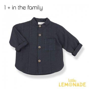 【1+ in the family】ダークブルーのシャツ ミッドナイトブルー 9M/12M/18M/24M MAURO コットン  ベビー 子供 男の子 ukati (336412121) SALE