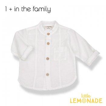 【1+ in the family】ホワイトのシャツ  9M/12M/18M/24M MAURO コットン オシャレ着 ベビー 子供 リトルレモネード ukati (336412111) SALE