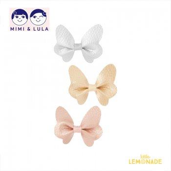 【Mimi&Lula ミミアンドルーラ】 METALLIC BUTTERFLY CLIP / チョウチョ型メタリックカラーヘアクリップ3個セット ヘアアクセサリー 女の子(ML40201608)