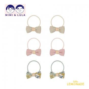 【Mimi&Lula ミミアンドルーラ】FARMGIRL BOW PONIES / ピンク ベージュ 花柄 ミニヘアゴム6個セット ヘアアクセサリー 女の子(ML50202162)