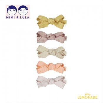 【Mimi&Lula ミミアンドルーラ】 MINI FLORENCE BOW CLIPS / キュッと結んだデザイン リボンヘアクリップ5個セット ヘアアクセサリー 女の子(ML50203862)
