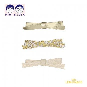 【Mimi&Lula ミミアンドルーラ】 SUMMER GARDEN JEANIE BOW CLIPS / メタリック 花柄 サテン リボンヘアクリップ3個セット (ML50208109)