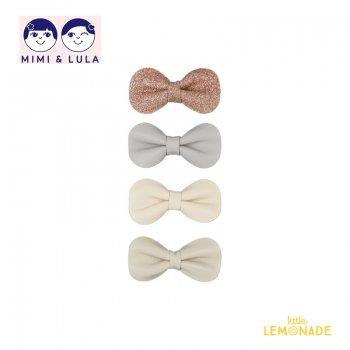 【Mimi&Lula ミミアンドルーラ】 GRACIE BOW CLIPS/ヌードカラーリボンヘアクリップ4個セット ヘアアクセサリー 女の子(ML50202922)