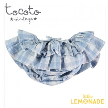 【Tocoto Vintage】Checked denim double ruffle culotte  【12か月/18か月】 ブルマ ショーツ ベビー(S12120) 20SS  SALE