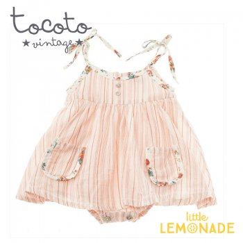 【Tocoto Vintage】Baby striped dress 【9か月/12か月】 花柄 ロンパース ワンピース   (S30920) 20SS  SALE