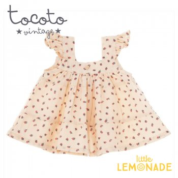 【Tocoto Vintage】Strawberry print dress 【12か月/18か月/2歳】 イチゴ柄 ワンピース   (S31720) 20SS  SALE