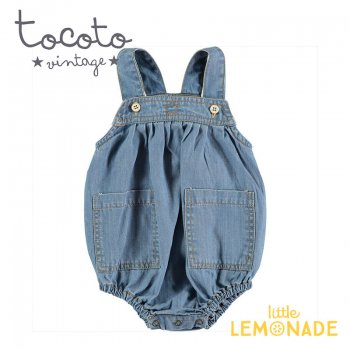 <img class='new_mark_img1' src='https://img.shop-pro.jp/img/new/icons1.gif' style='border:none;display:inline;margin:0px;padding:0px;width:auto;' />【Tocoto Vintage】Light denim romper 【6か月/9か月/12か月/18か月】 デニム ロンパース ベビー (S40420) 20SS  SALE
