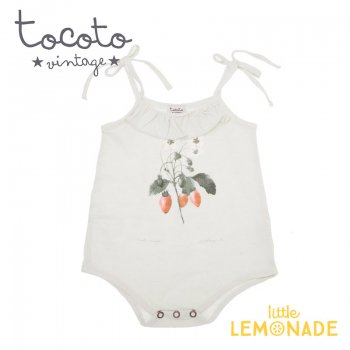 【Tocoto Vintage】Strawberry plant drawing romper 【9か月】 苺プリント ロンパース (S42820) 20SS  SALE