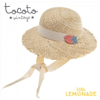 【Tocoto Vintage】 Straw hat with straps and strawberry patch【3-6歳/6-10歳】 苺 麦わら帽 (S72520) 20SS SALE