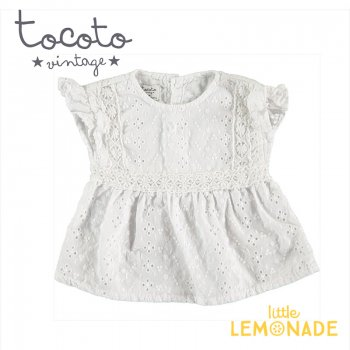 <img class='new_mark_img1' src='https://img.shop-pro.jp/img/new/icons1.gif' style='border:none;display:inline;margin:0px;padding:0px;width:auto;' />【Tocoto Vintage】Swiss embroidered baby blouse  【12か月/18か月】 刺繍生地 半袖 ブラウス (S90220) 20SS  SALE