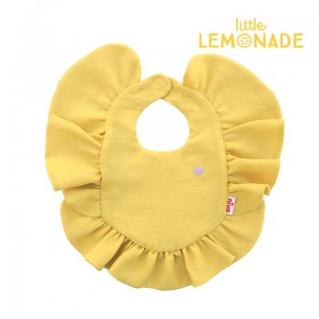 【niva】ハート刺繍フリルビブ/マスタード おしゃれ スタイ ビブ よだれかけ フリル 黄色 女の子 出産祝い リトルレモネード(235MUS)