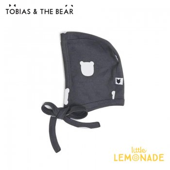 【Tobias & The Bear】 チャコールベアー ボンネット帽 子 【0-6/6-12か月】 ベビー帽 Charcoal Bear bonnet  (CHBEB)
