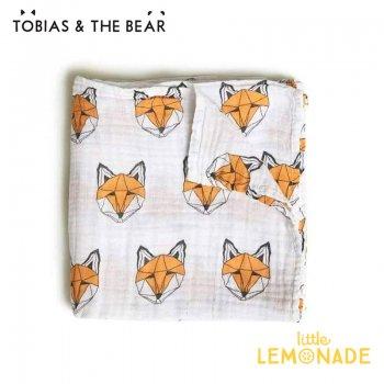 【Tobias & The Bear】 キツネ柄 おくるみ モスリンコットン100% スワドル ブランケット  (FOXGMSW)