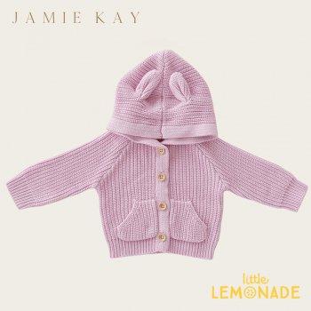 【Jamie Kay】 BEAR CARDIGAN - TULIP 【6-12か月/1歳/2歳/3歳】 ベアカーディガン パープル 耳付 アウター (BEARCARDI)