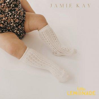 【Jamie Kay】 Ellie Sock - MILK  【0-3か月/1-2歳/4-6歳/6-8歳】 靴下 子供ベビー用  ホワイト ひざ下丈 レース(JK20ELLIES)