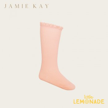 【Jamie Kay】 FRILL SOCK - Melon 【0-3か月/3-12か月/1-2歳/2-4歳/4-6歳】 靴下 子供ベビー用  ひざ下丈 ピンク フリル (JK20FRILLS)