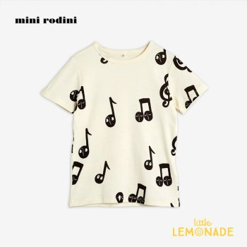 【Mini Rodini】 音符デザイン 半袖 Tシャツ【1.5歳-3歳/3-5歳】 220720122  Notes aop ss tee 20AW