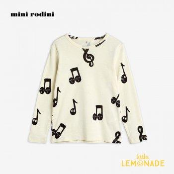 【Mini Rodini】 音符デザイン 長袖 Tシャツ 【9ヶ月-1.5歳/1.5歳-3歳/3-5歳】 20720136  Notes aop grandpa 20AW