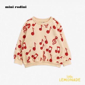 【Mini Rodini】 音符デザイン 長袖スウェットシャツ 【3-5歳/5-7歳/7-9歳】  20720159  Notes aop sweatshirt /  Beige 20AW