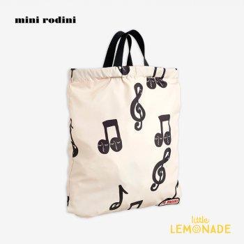 【Mini Rodini】 リュックにもなる 音符デザイン 2wayジムバッグ 20760107  Notes drawstring bag 20AW