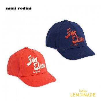 【Mini Rodini】  Fur elise cap 刺繍 ベースボールキャップ 【RED / BLUE】  20765102  Fur elise cap 20AW