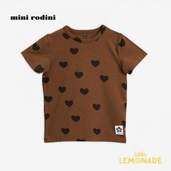 【Mini Rodini】ハートモチーフ 半袖Tシャツ / ブラウン 【9か月-1.5歳/1.5歳-3歳/3-5歳】 20720127 Hearts ss tee/ Brown 20AW