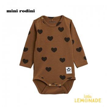 【Mini Rodini】ハートモチーフ 長袖 ボディ / ブラウン 【4か月-9月/9か月-1.5歳】 20740136  Hearts ls body /  Brown 20AW