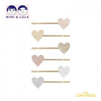 【Mimi&Lula ミミアンドルーラ】LOVE HEART KIRBYS /ラブハートヘアピン6個セット ヘアアクセサリー 女の子 20AW(602049 04)