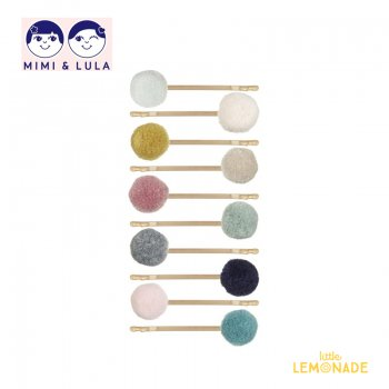 【Mimi&Lula ミミアンドルーラ】MINI POM POM GRIPS /ミニポンポン付きアメピン10個セット ヘアアクセサリー 女の子 20AW(602040 63)