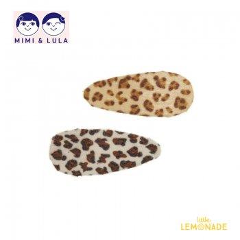 【Mimi&Lula ミミアンドルーラ】FURRY LEOPARD CLIPS/ヒョウ柄ヘアクリップ2個セット ヘアアクセサリー 女の子 20AW(602071 43)