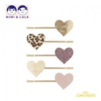 【Mimi&Lula ミミアンドルーラ】LEOPARD HEART KIRBYS/レオパードハートヘアピン5個セット ヘアアクセサリー 女の子 20AW(602068 05)
