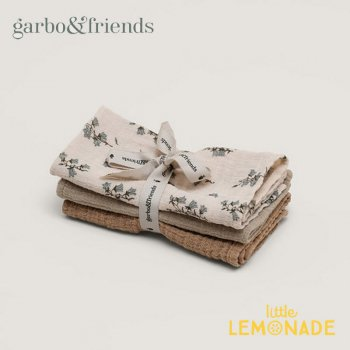 【garbo&friends】ハンカチ/BLUEBELL MUSLIN Burp Cloths 3色セット【ベビー 出産祝い ハンカチ ブルーベル よだれ拭き】  GF214P3821GL
