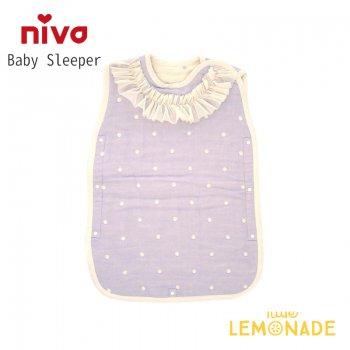 【niva】6重ガーゼドットスリーパー/ パープル 寝袋 ベビー布団 スリープバック 女の子 出産祝い (240PUR)